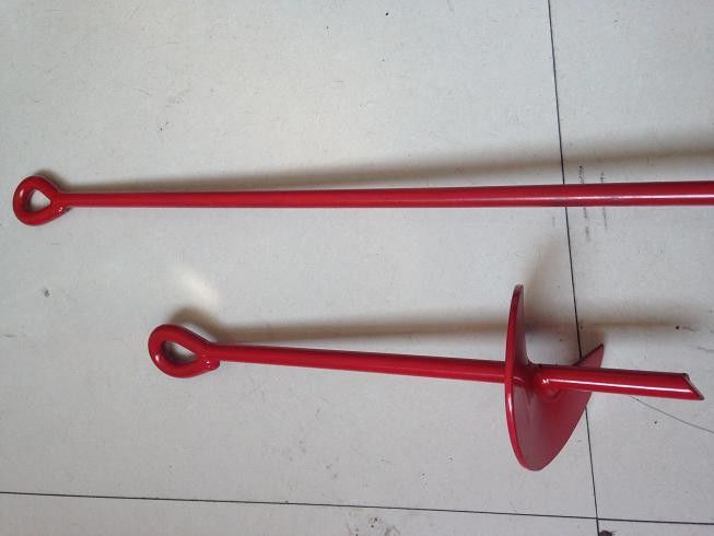 Red Painted Earth Ground Anchor / Helical Metal Ground